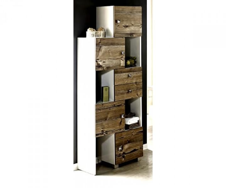 700544 schieberegal badregal badschrank in weiss glanz silberfichte dekor badezimmerschr nke. Black Bedroom Furniture Sets. Home Design Ideas