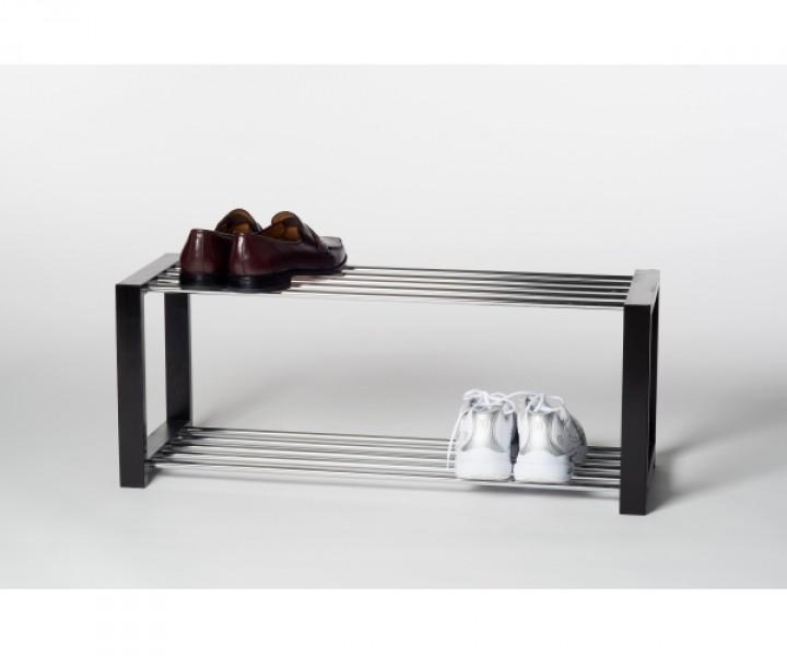 schuhregal schuhablage regal luis in schwarz mit 2 etagen schuhschr nke schuhe co. Black Bedroom Furniture Sets. Home Design Ideas