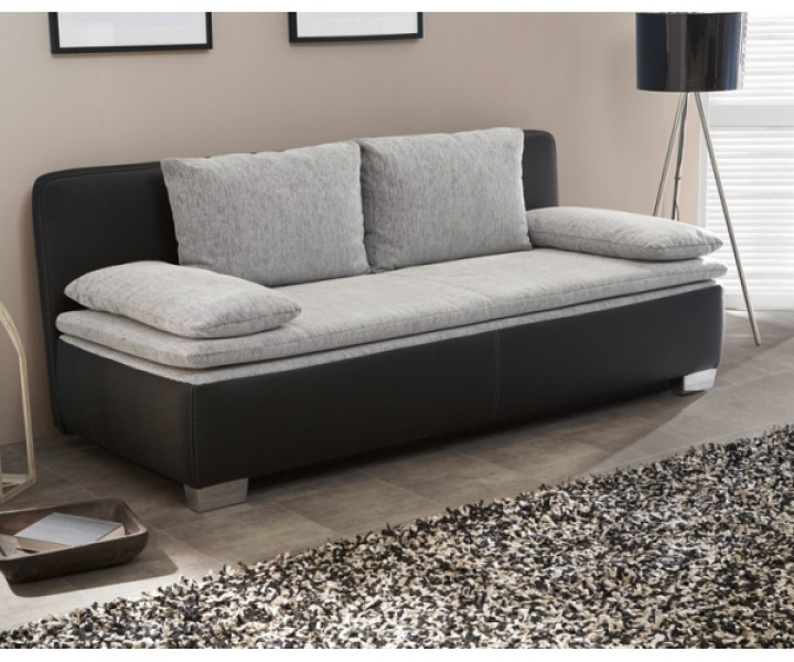 duett schlafsofa sofa 2 sitzer bettsofa couch mit bettfunktion schwarz grau inkl aller kissen. Black Bedroom Furniture Sets. Home Design Ideas