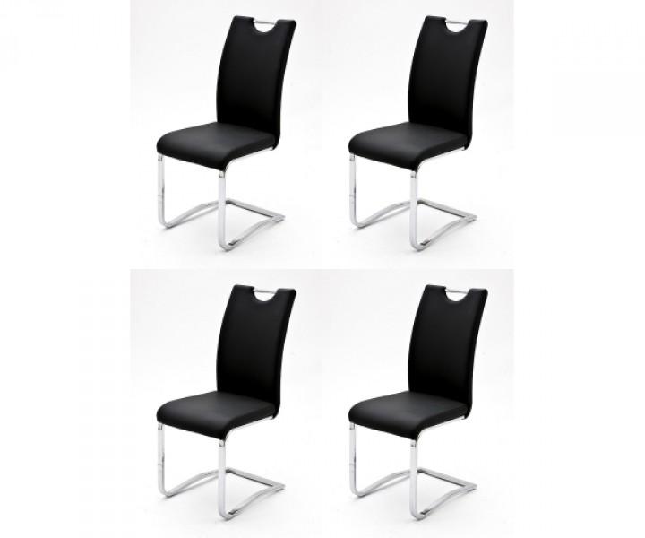 4er pack koelncps schwingstuhl esszimmerstuhl k chenstuhl kunstleder schwarz gestell chromoptik. Black Bedroom Furniture Sets. Home Design Ideas