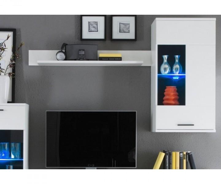 Anbauwand Wohnwand Wohnzimmerschrank Weiss ca. 230 cm ...
